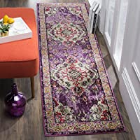 Safavieh Monaco Collection MNC243P Vintage Bohemian Violet and Fuchsia Pink Distressed Runner (22 x 12)