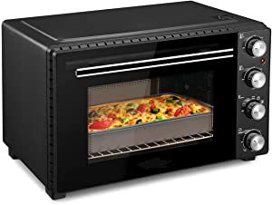 Toaster Oven, Removable Crumb Tray, Interior Lighting, 3D Recirculation, Mini Oven Suitable for Cooking at Home.