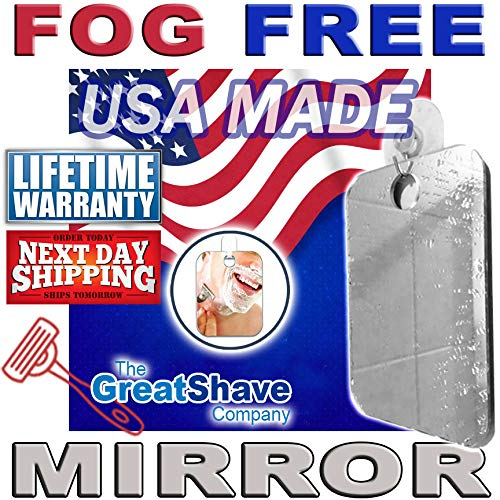 USA MADE shower mirror fogless shaving fog free bath shave mirror LIFETIME GUARANTY The Great Shave Company