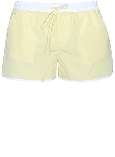 oodji Ultra Damen Strand-Shorts mit Kontrastdetails, Gelb, DE 34   EU 36 e1e045059d