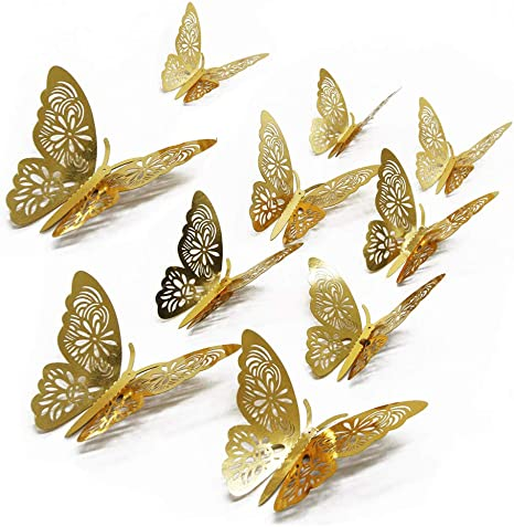 Butterfly decoration 48 pieces 3D wall stickers Metal art stickers