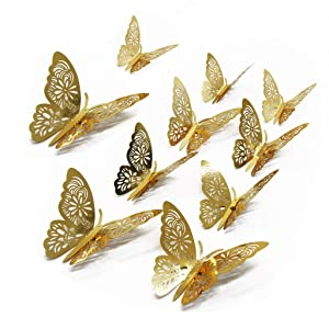 FOMTOR 3D Butterfly Wall Stickers Butterfly Wall Decals for Home Decor DIY Butterflies Fridge Sticker Room Decoration Party Wedding Decor (24 Pcs, Gold)