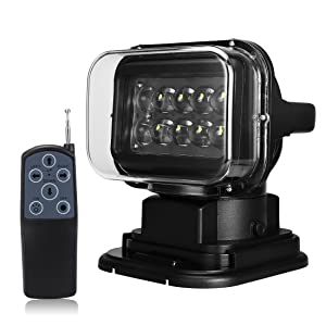 SUPAREE 1pcs Black 12v 24v 50w 360º Cree LED Rotating Remote Control Work Light Spot for SUV Boat Home Security Farm Field Protection Emergency Lighting Garden Etc