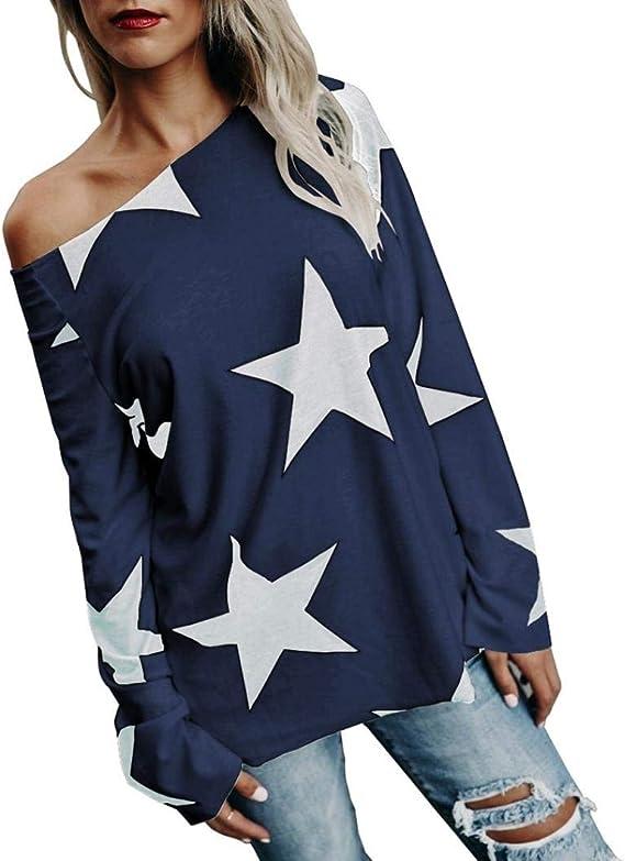 Kneris Mujer Jersey Suelto Camisetas Impresión de la Estrella ...