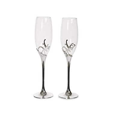 Pavilion Gift Company Glorious Occasions Mr. & Mrs. Wedding Toast Champagne Glass Flute Set, 8 oz, Silver