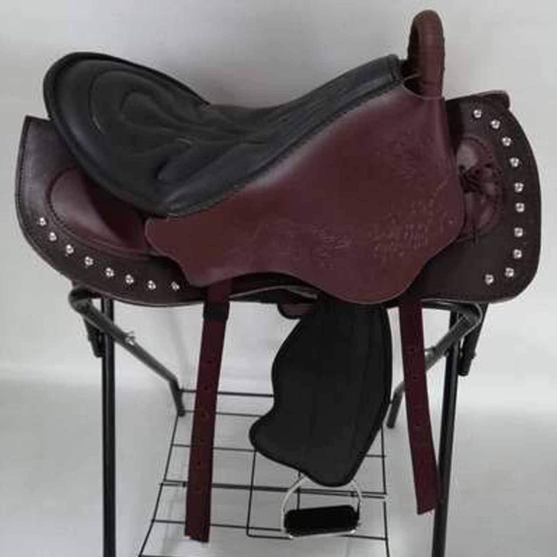 TNNT Sillín para montar a caballo Western Sillín turístico sin árboles, silla de caballo, conjunto completo de sillín integrado suministros ecuestres antidesgaste y antivibración marrón oscuro