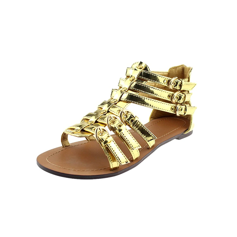 high quality Omtex Elegant Women Golden Strap Summer Flat