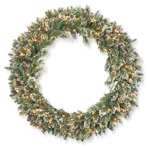 National Tree Pine 48 inch Glittery Bristle Wreath (Pine Wreath Sparkle)