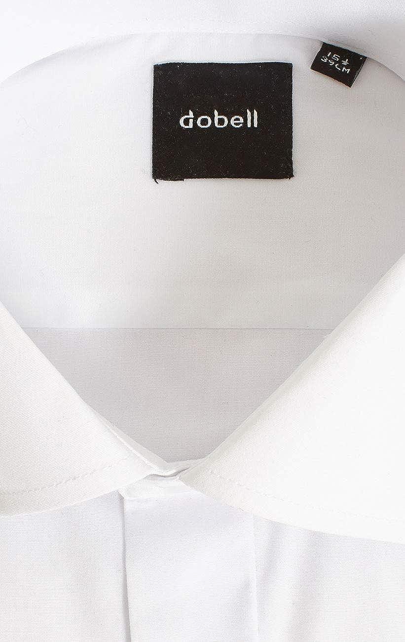 Dobell Mens White Tuxedo Shirt Regular Fit Laydown Collar Double Cuff Plain Fly Front