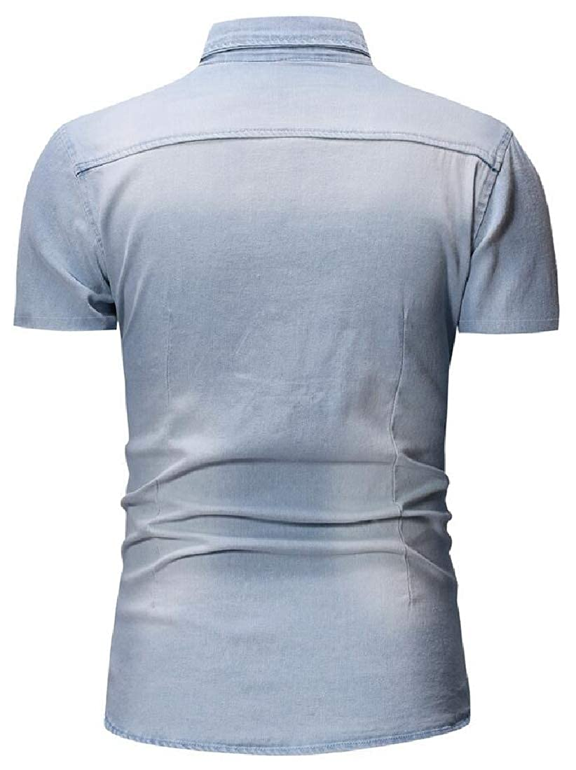 Mens Basic Cotton Casual Easy Care Short Sleeve Denim Shirt