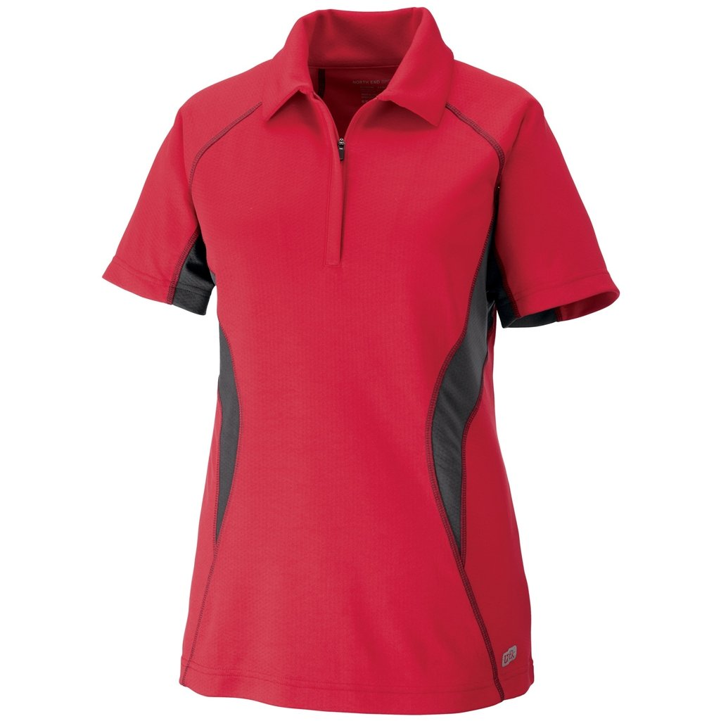 Ash City Womens Serac Performance Zipped Polo (Large, Olympic Red/Black Silk) by Ash City Apparel