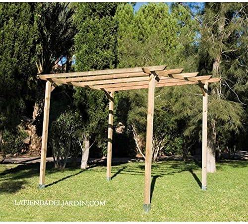 Suinga PERGOLA DE MADERA para JARDIN y PORCHE 240x240x250 cm. Presentación: 4 postes 9 x 9 x 250 cm, 2 traviesas 240 cm, 4 listones 240 cm y 4 ...