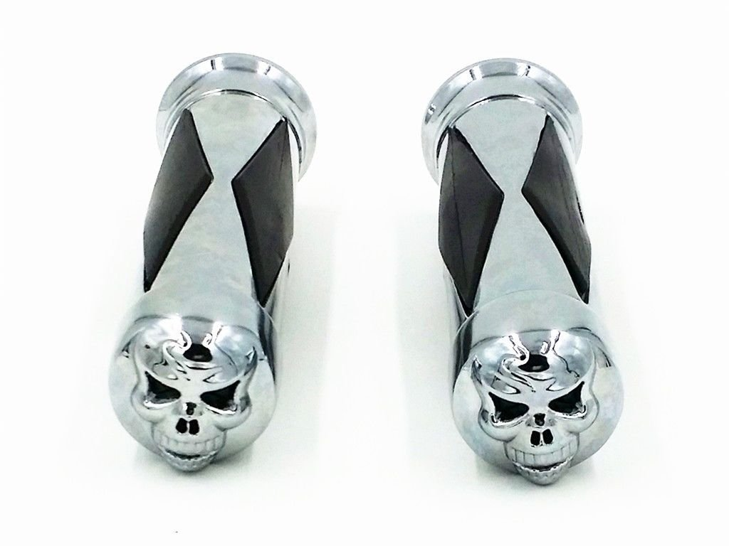 1 25mm Skull Diamond Motorcycle Motor Bike Handlebar HAND GRIPS Handgrip Grip For Cruiser Chopper Bobber Custom