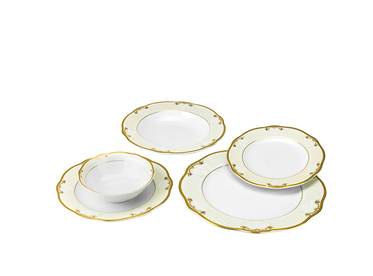 Joseph Seigh GPDIAMOND-20, 20 Pcs Fine Porcelain Dinnerware Set, Ceramic Dining Table Setting, Bone China Tableware for 4, Set of 20