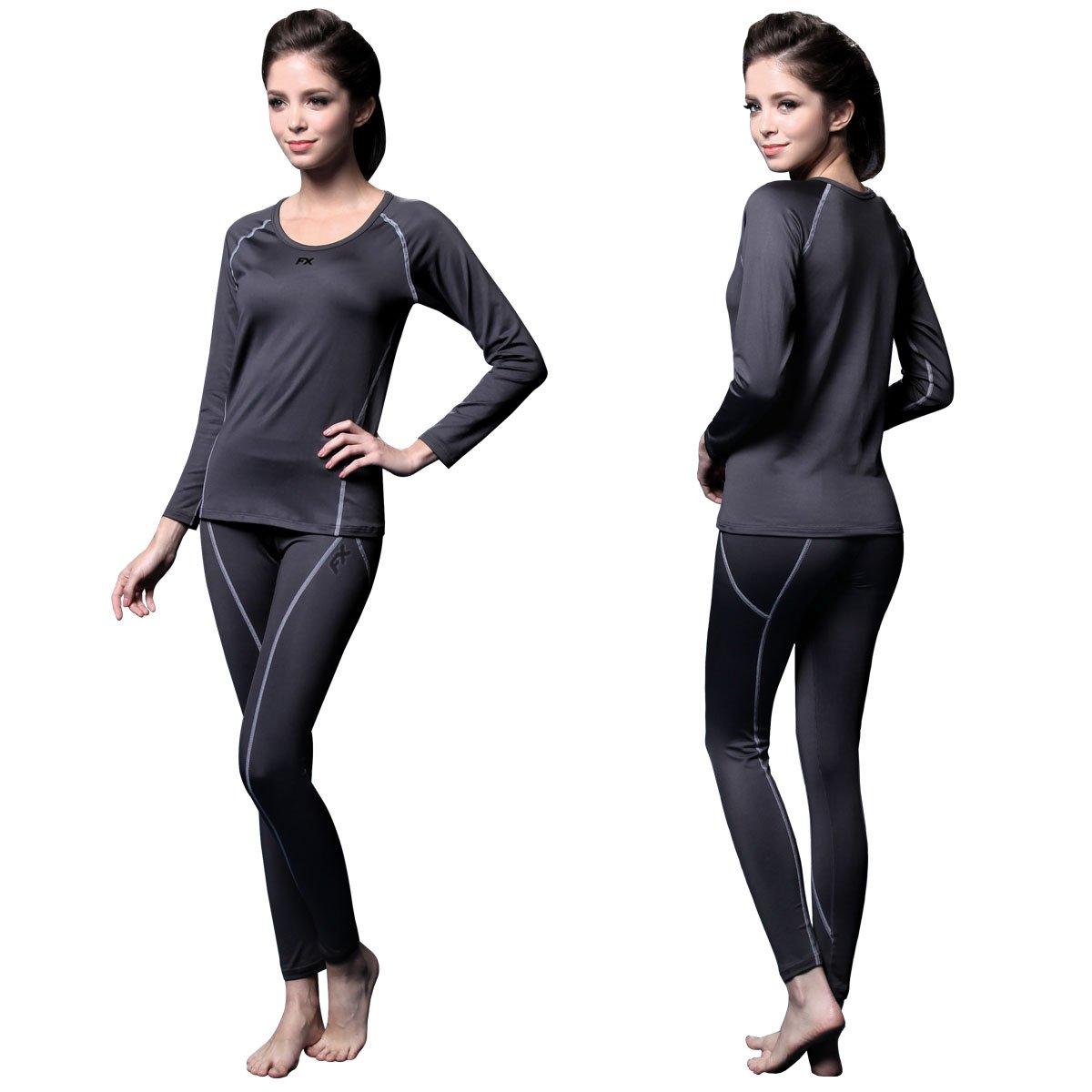 FITEXTREME Womens MAXHEAT Fleece Long Johns Thermal Underwear Set Grey S