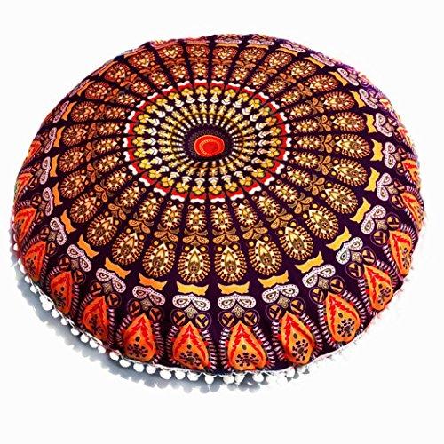 Mandala Floor Indian Peacock Pillow Cover Hippie Bohemian Ottoman Meditation Pouf Cushion Case (H) -