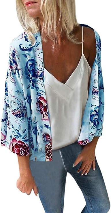 Women Boho Print Kimono Cardigan Beach Swimwear Beach Bikini Cover Up Blouse Top