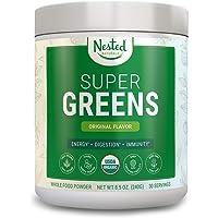 SUPER GREENS | #1 Green Veggie Superfood Powder | 30 Servings | 20+ Whole Foods (Wheat Grass, Spirulina, Chlorella), Probiotics, Fiber & Enzymes | 100% USDA Organic Non-GMO Vegan Supplement (Original)
