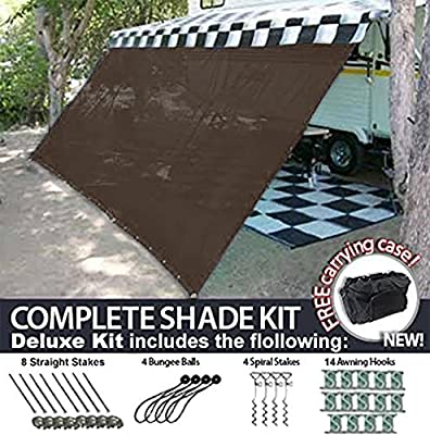 RV Awning Shade Motorhome Patio Sun Screen Complete Deluxe Kit (Brown)