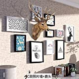 WUXK The creative personality wooden Nordic photo wall combination of 7 inch photo frame wall in the living room bedroom decor picture frame wall,C