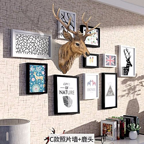 WUXK The creative personality wooden Nordic photo wall combination of 7 inch photo frame wall in the living room bedroom decor picture frame wall,C by WUXK