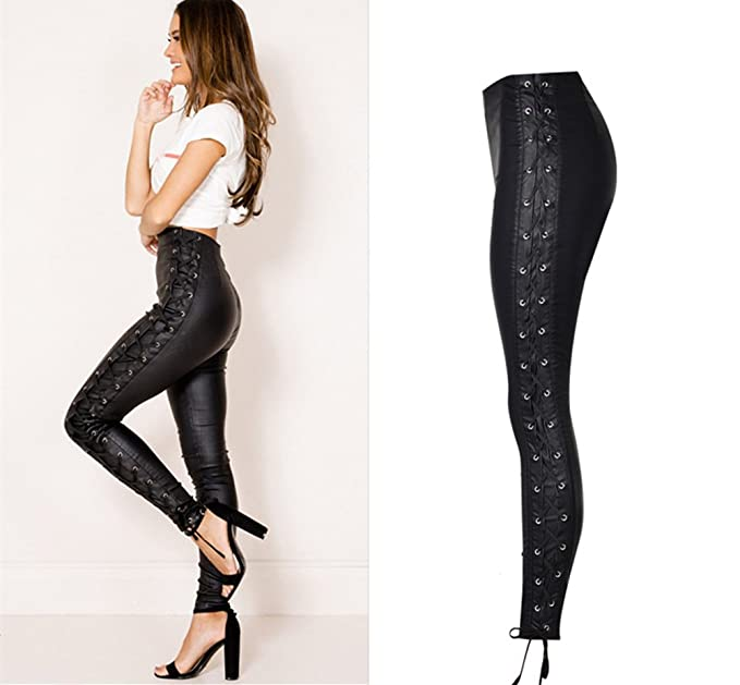 Steampunk Women's Pants, Leggings & Bloomers Speedle Faux Leather PU Denim Pants for Women Sexy Stretchy Leggings Slim Fit Trousers $38.99 AT vintagedancer.com