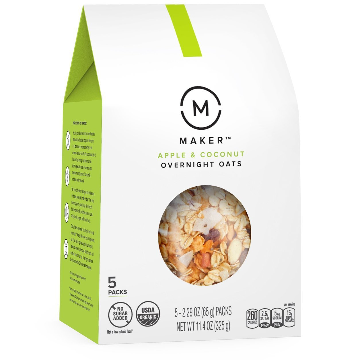 Maker Overnight Oats, Apple & Coconut, Organic, No Sugar Added, 5 Count, 2.29 oz Packs