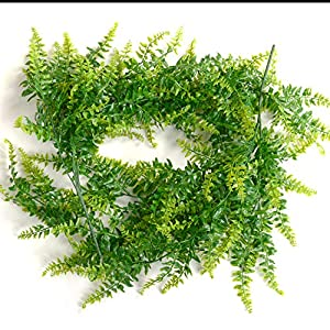 2 Pcs Artificial Plants Vines Boston Ferns Persian Greenery Rattan Fake Hanging Plant Faux Hanging Fern Flowers Vine Outdoor UV Resistant Plastic Plants for Wall Indoor 7
