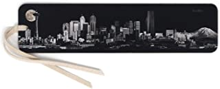 product image for Personalized Seattle Moonlit City Panoramic Skyline - B&W Wooden Bookmark with Suede Tassel