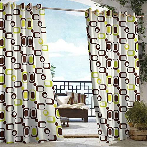 VIVIDX Grommet Curtain,Geometric,Waterproof Patio Door Panel,W84x108L Chestnut Brown Apple Green Cream ()