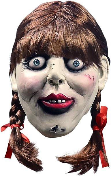 CY TOYS Máscara de látex Annabelle para Halloween, máscara de ...