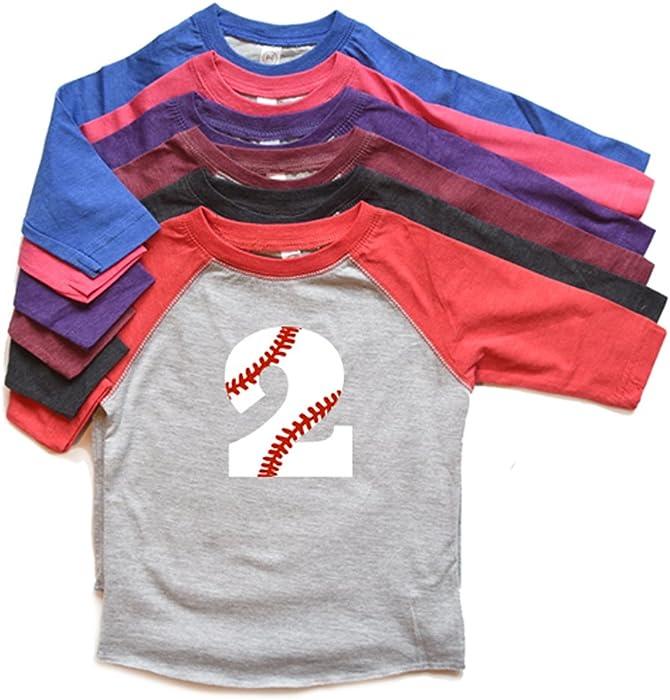Toddler Two Shirt Raglan Boy Or Girl Birthday Second Bday Baseball Number Tee 2nd Trendy Kids Tshirt