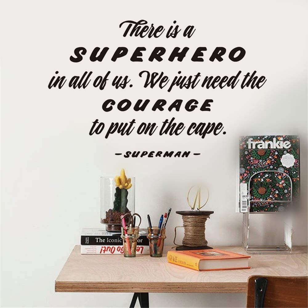 Pqzqmq Superman Quote-Motivational Wall Art-There Is A Superhero In All Of Us We Just Need The Courage To Put On The Cape-Classroom Nursery Mural Decor