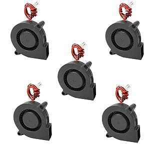 Comidox 5Pcs Black Brushless DC Cooling Blower Fan 5015S 5V 0.1-0.3A 50x15mm