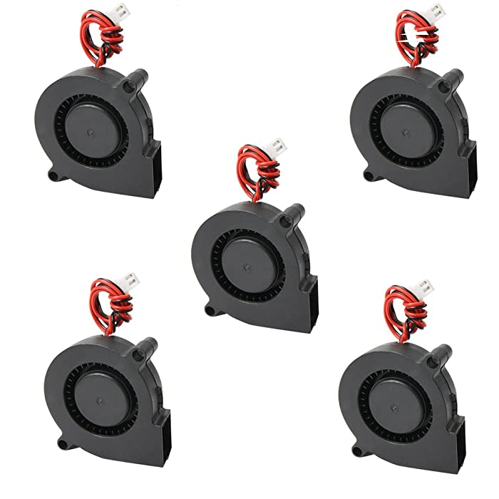 Comidox 5Pcs Black Brushless DC Cooling Blower Fan 5015S 5V 0.1-0.3A 50x15mm