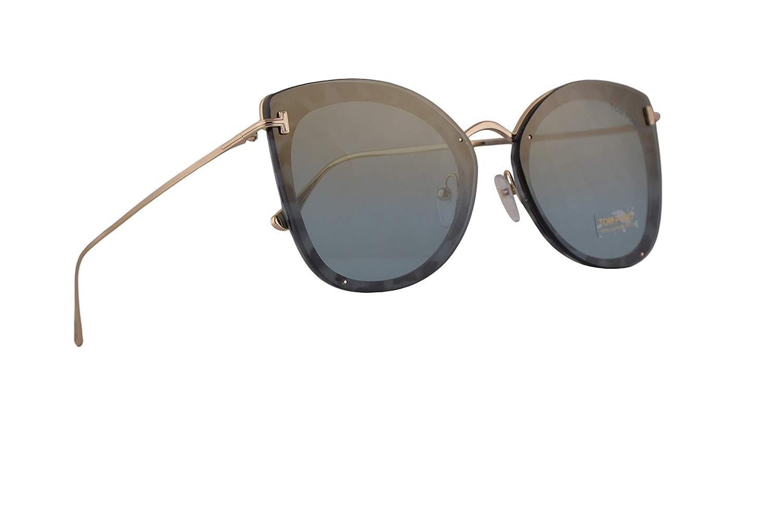 f436b13bf8dc Amazon.com  Tom Ford FT0657 Charlotte Sunglasses Blue Havana w Blue 62mm  Lens 55X FT657 TF 657 TF657  Clothing