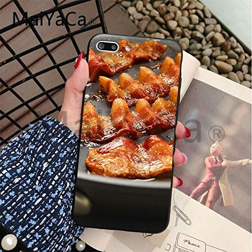 Brown Red Bacon Themed iPhone 6 Case Delicious Food 6S Cover Meat Cooking Breakfast Sandwich Pork Burger Grease Sizzle Crispy, - Burgers Pork