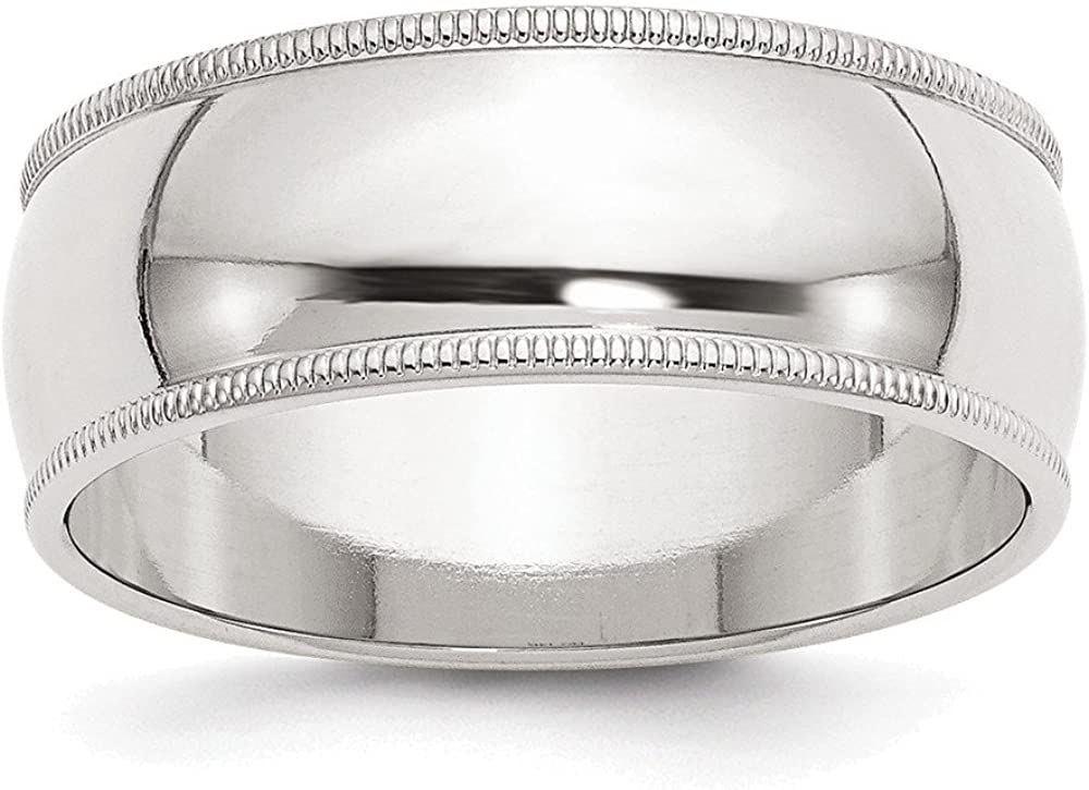 925 Sterling Silver 9mm Half Round Milgrain Size 4 to 13.5 Band Ring
