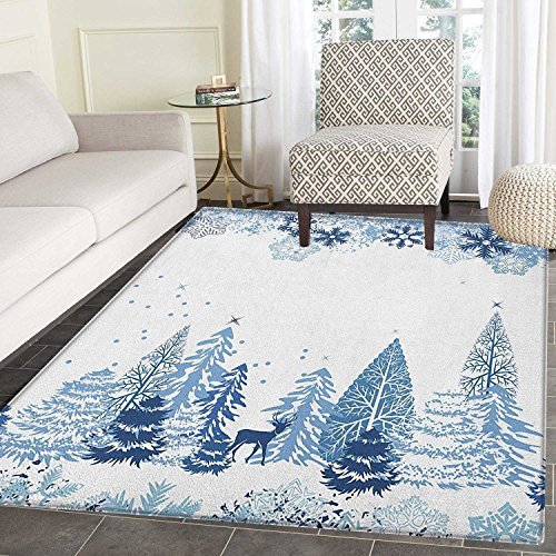 Winter Print Area rug Winter Scene with Deer Frozen Trees and Snow Christmas Season Pine Trees Bushes Indoor/Outdoor Area Rug 3'x4' Blue White