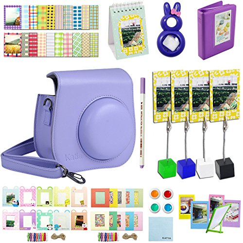 Katia Instant Camera Accessories Bundles Set for Fujifilm Instax Mini 8/8+ with Case Purple/ Photo Albums/ Close Up Lens/ Filters/ Border Stickers/ Frame/ Cleaning Cloth/ Pen/ Photo Holder (Purple) (Polaroid Instax 8 Purple)