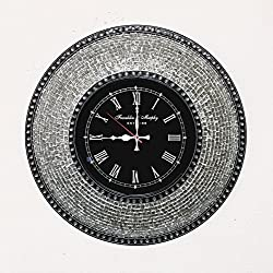 DecorShore Decorative Mosaic Wall Clock, 22.5 Silent Motion Wall Clock with Embossed Silver Metallic Glass Mosaic - Silver w/ Black Clock Face