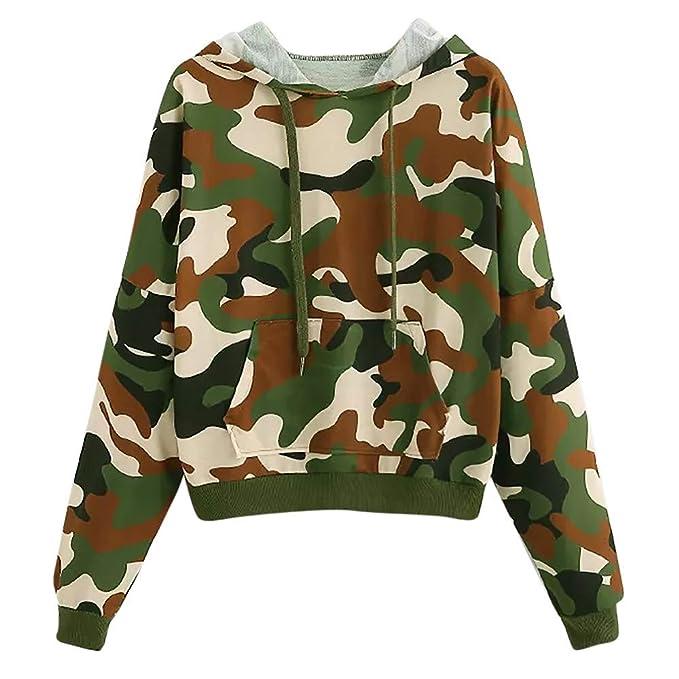 f7395948a5d Women Long Sleeve Camouflage Print Hoodie Sweatshirt Jumper Pullover ...