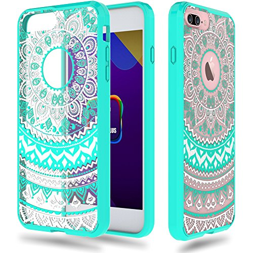 iPhone 7 Plus [5.5''] Case - Anwish Mint Mandala Totem Series Hybrid Protective Case with Soft TPU Bumper +Hard Back Cover [Scratch Resistant] Cover Case for iPhone 7 Plus