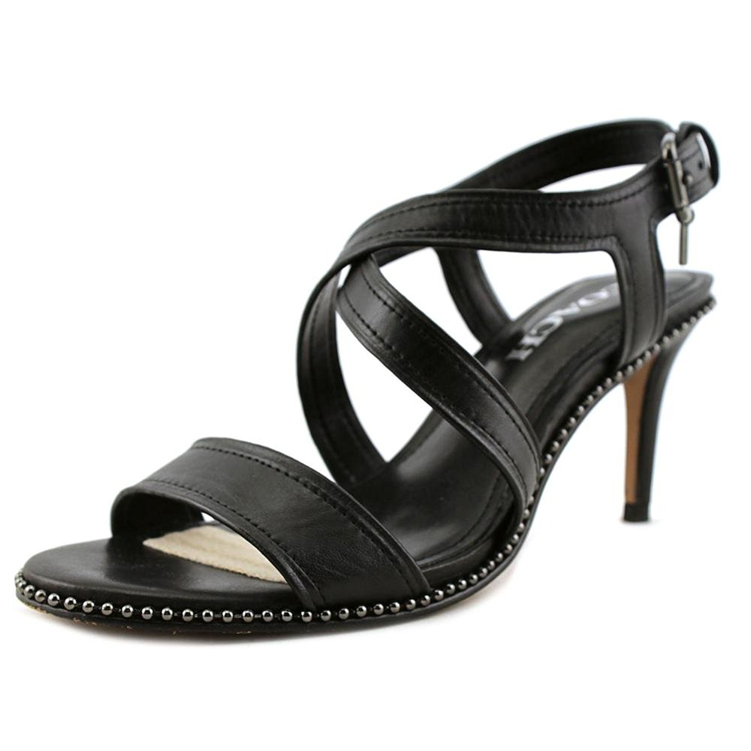 COACH Women's Wendi Black Semi Matte Calf Sandal