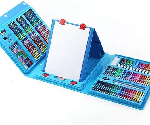 Liuxiaomiao Set de Dibujo a lápiz de Color Artista Estuche de Arte con Caballete 208 Piezas de un Kit Colorear, Arte, Dibujo, caligrafía, cómics. Set de Pintura al óleo crayón para niños:
