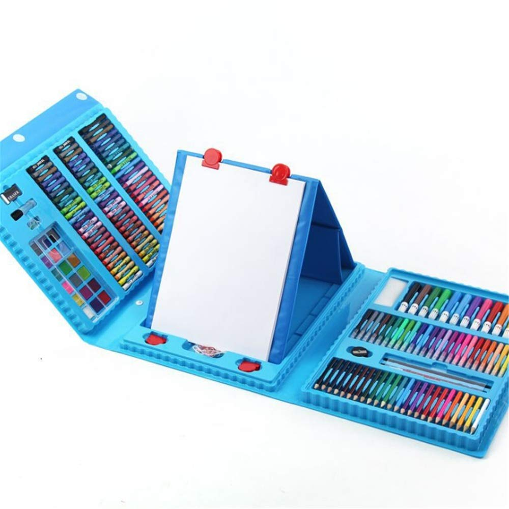 JIANGXIUQIN Artist Art Drawing Set, Art Case with Easel 208 Pieces of Luxury Kit for Coloring, Art, Drawing, Calligraphy, Comics. Gifts for Children and Children. (Color : Blue)