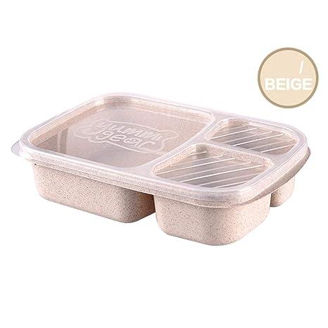 Heaviesk Bento Box Trigo Paja 3 Rejillas con Tapa Microondas Caja ...
