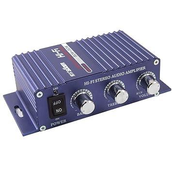 sourcingmap 12V 150W USB Amplificador de Estéreo Hi-Fi Bass Audio de Coche Azul