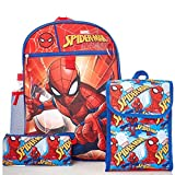Marvel Spiderman Kids 5 Piece Backpack Set - 16' Backpack, Insulated Lunch Bag, Utencil Case, Water Bottle and Carabiner