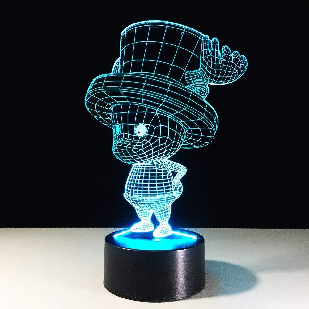 LED 7 Cambio de Color Visi/ón Luces Nocturnas Beb/é Durmiendo Creativo 3D Anime One Piece Tony Chopper L/ámpara de Escritorio Decoraci/ón de Navidad Regalos